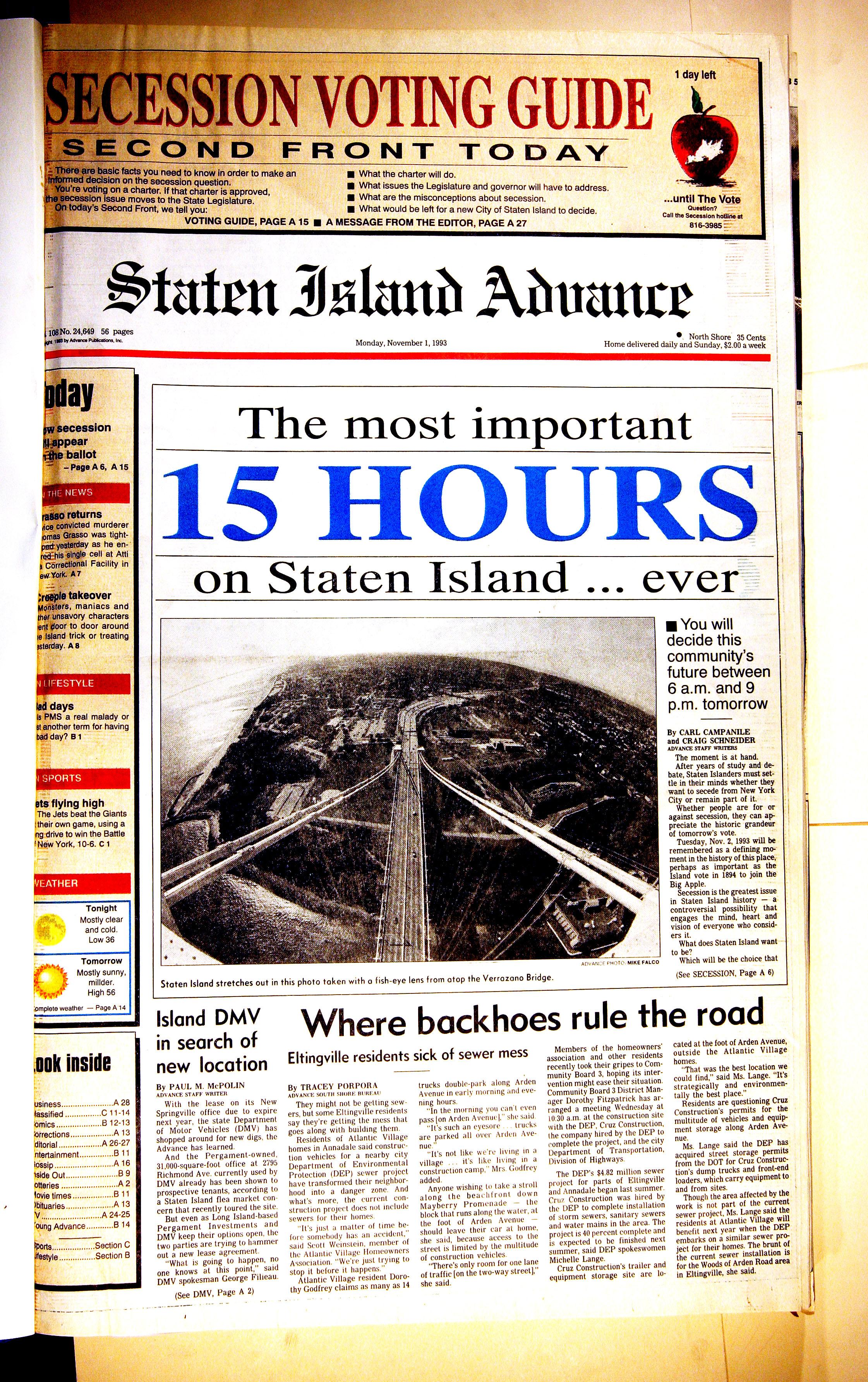 Advance historic page from Nov. 1, 1993: Will Staten Island secede?