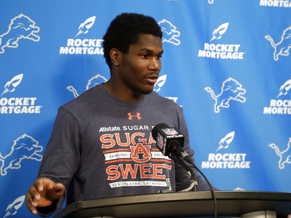 Detroit Lions running back Kerryon Johnson answers questions during a press conference after an NFL game against the Miami Dolphins on Sunday, Oct. 21, 2018, at Hard Rock Stadium in Miami Gardens, Fla.