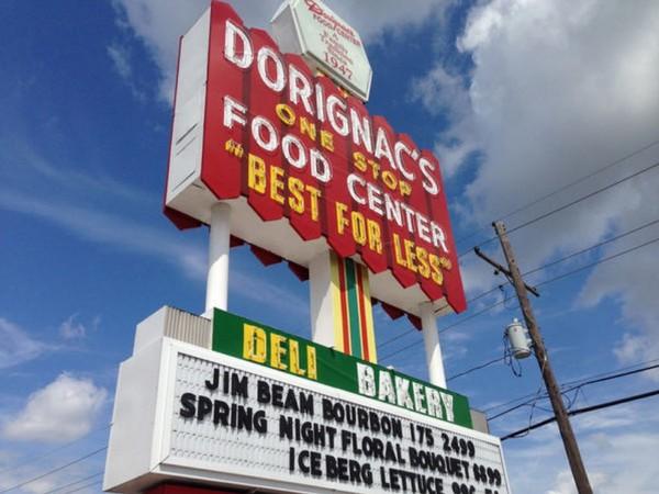Dorignac's Food Center's sign is a landmark to drivers traveling on Veterans Memorial Boulevard in Metairie.