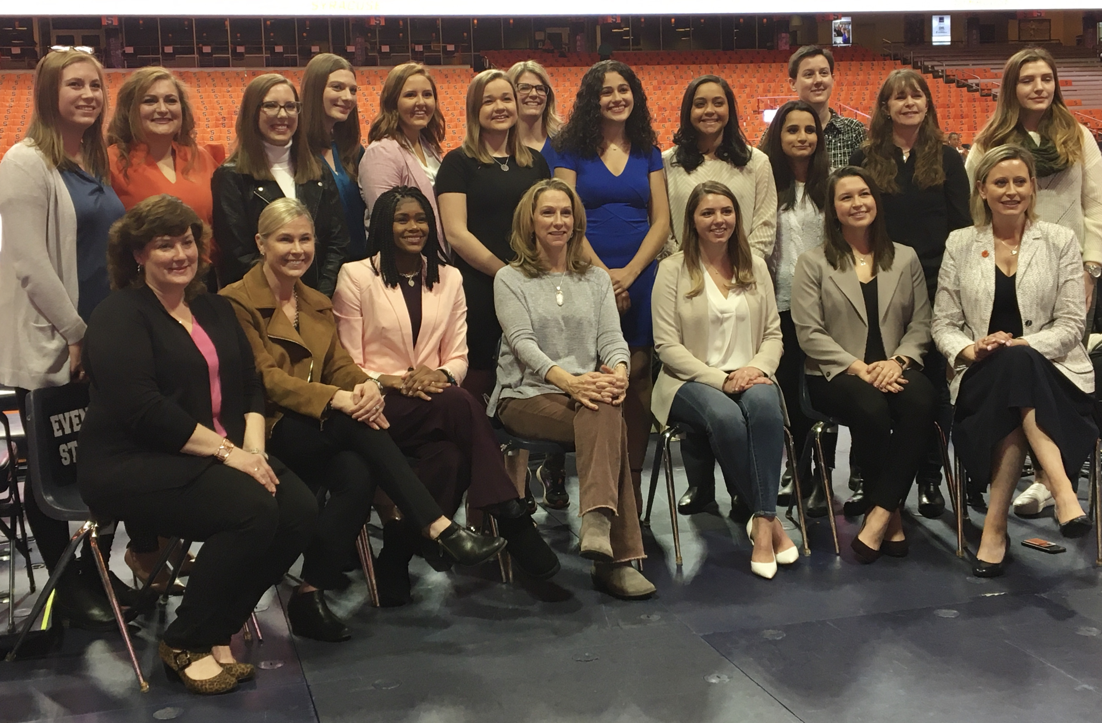 A female cast and crew made history Thursday at the Syracuse women's basketball game