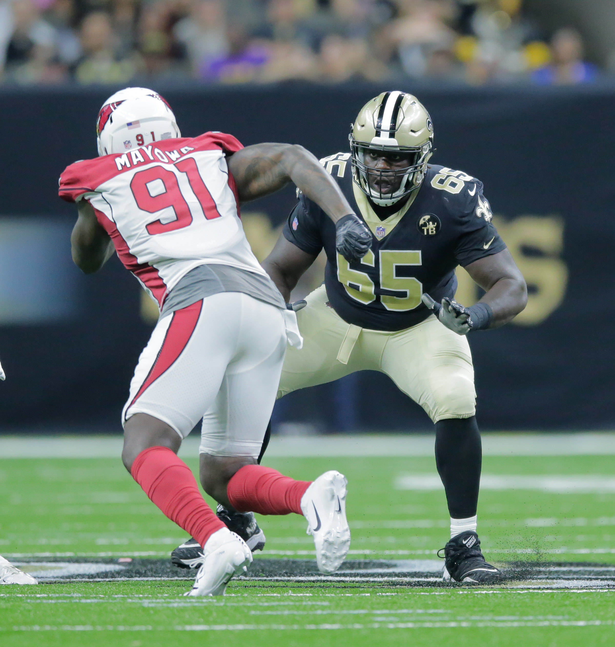 New Orleans Saints offensive tackle Michael Ola (65) during a preseason game against the Arizona Cardinals at the Mercedes-Benz Superdome in New Orleans, La. Friday, Aug. 17, 2018. (Photo by David Grunfeld, NOLA.com | The Times-Picayune)