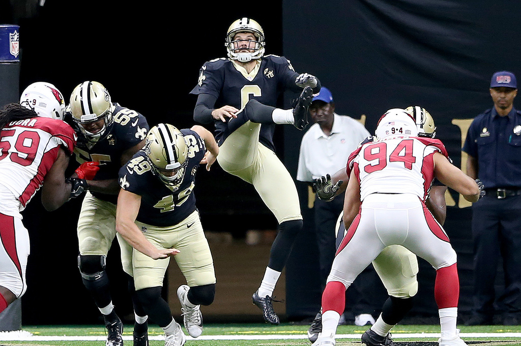 New Orleans Saints punter Thomas Morstead (6) during the preseason game between the Arizona Cardinals and the New Orleans Saints at the Superdome on Friday, August 17, 2018. (Photo by Michael DeMocker, NOLA.com | The Times-Picayune)