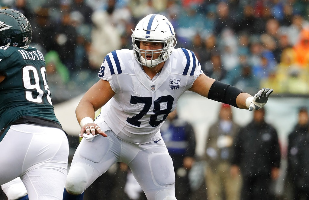 Indianapolis Colts center Ryan Kelly works along the line during an NFL game against the Philadelphia Eagles on Sept. 23, 2018, in Philadelphia.