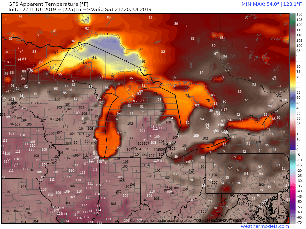 Heat index forecast for July 20, 2019