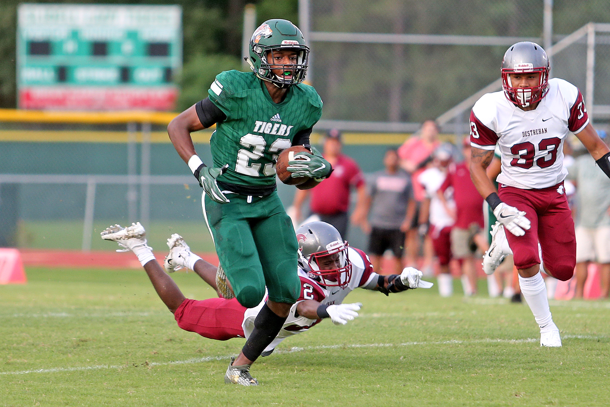 Slidell wide receiver Harlan Dixon (23) scores on a 69-yard reception in the first quarter during the game between the Destrehan Wildcats and Slidell Tigers in Slidell on Friday, August 31, 2018. (Photo by Michael DeMocker, NOLA.com | The Times-Picayune)