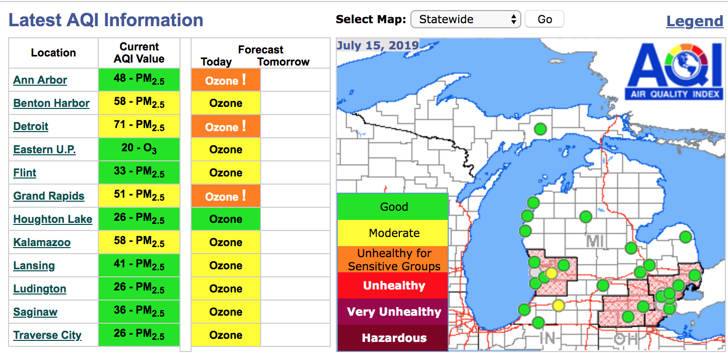Air quality alert issued for southeast, southwest Michigan, including Detroit, Ann Arbor and Grand Rapids