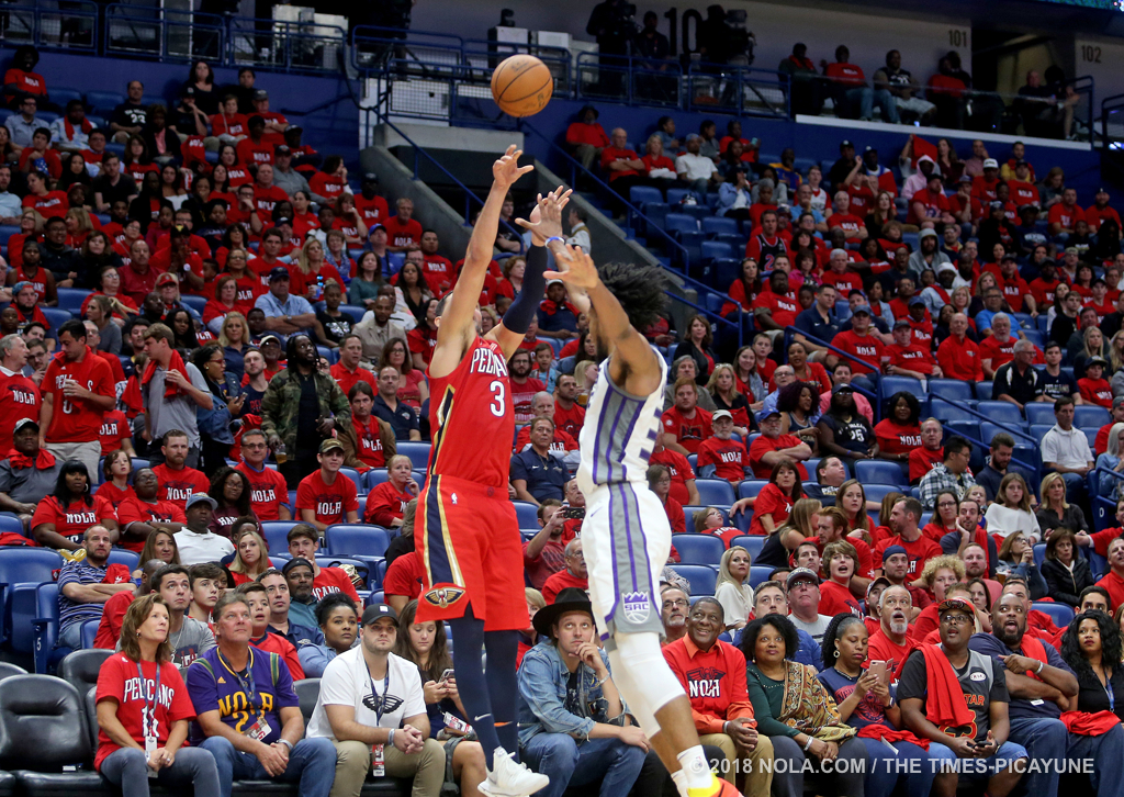 New Orleans Pelicans forward Nikola Mirotic (3) hits another 3-pointer during the home opener game between the Sacramento Kings and New Orleans Pelicans at the Smoothie King Center on Friday, October 19, 2018. (Photo by Michael DeMocker, NOLA.com | The Times-Picayune)