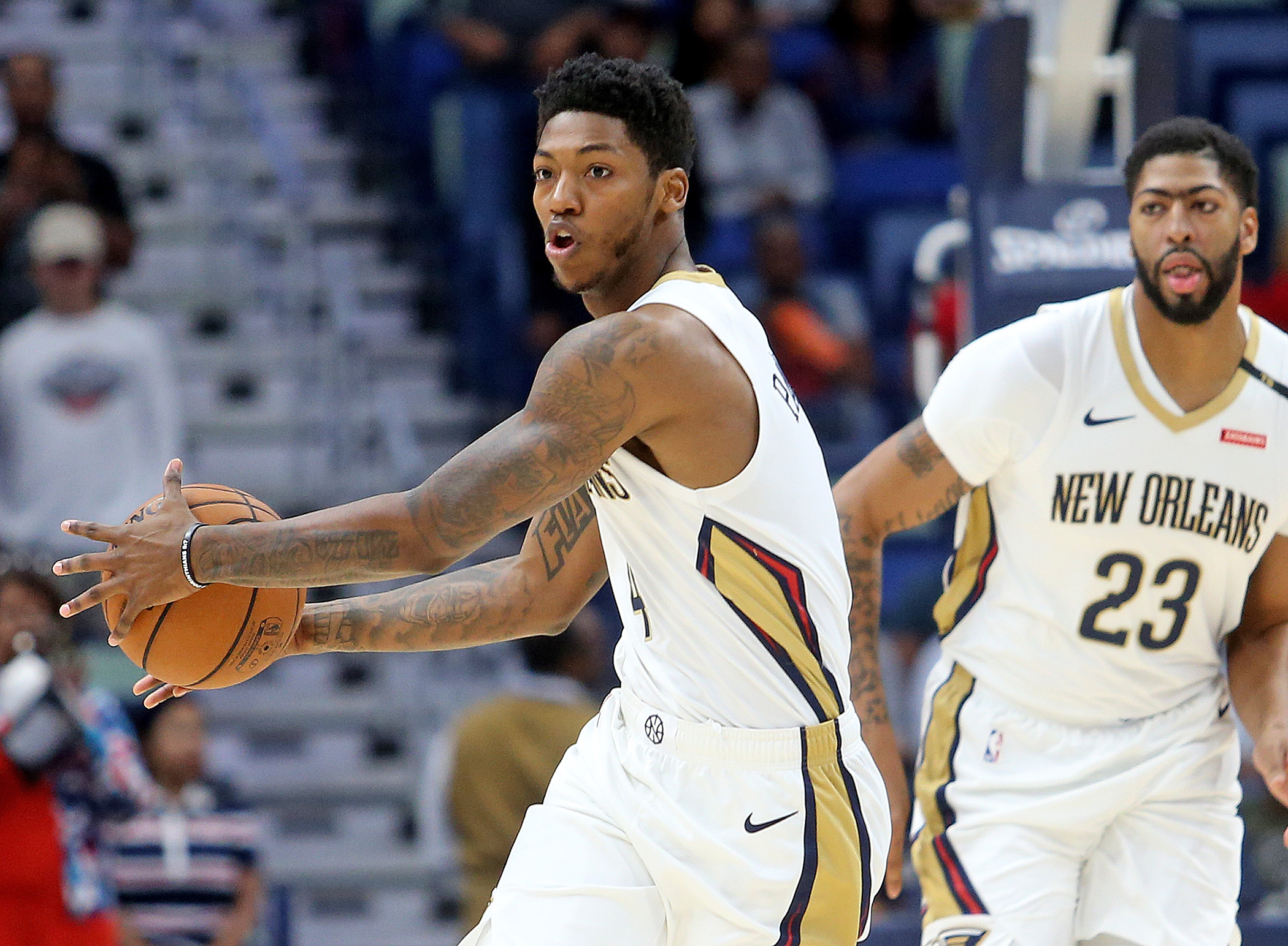 New Orleans Pelicans guard Elfrid Payton (4) drives up the court during the preseason game between the Toronto Raptors and New Orleans Pelicans at the Smoothie King Center on Thursday, October 11, 2018. (Photo by Michael DeMocker, NOLA.com | The Times-Picayune)