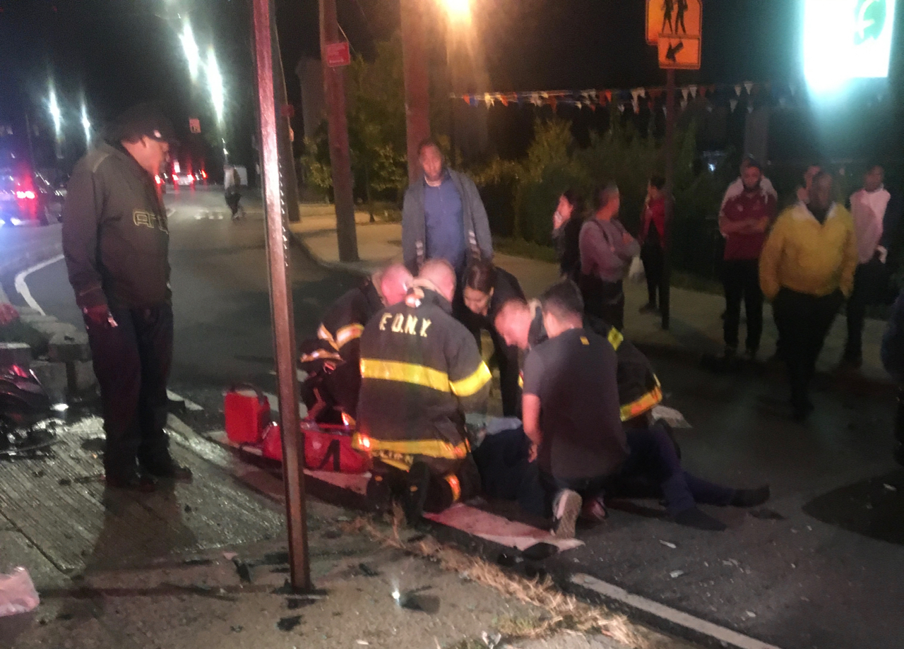 A pedestrian was hit in a two-car collision Friday night at a busy Rosebank intersection, according to authorities. (Courtesy of Steve S.)