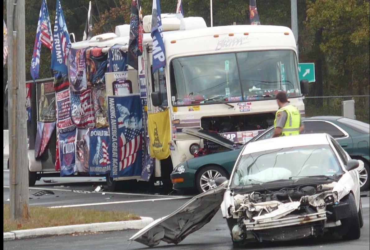 Woman killed by car after helping disabled Trump-covered motor home on N.J. highway