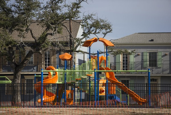 This photo shows children's equipment at Lemann Playground on the Lafitte Greenway in 2017.