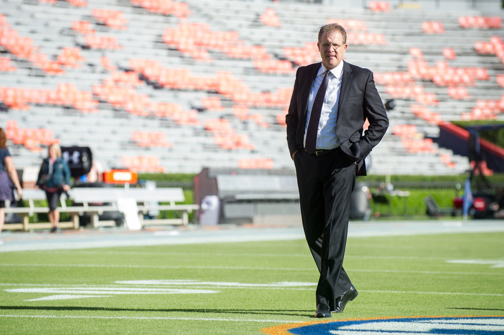 Head coach Gus Malzahn of the Auburn Tigers prior to their game against the Tennessee Volunteers at Jordan-Hare Stadium on October 13, 2018 in Auburn, Alabama. Auburn lost to Tennessee 30-24.
