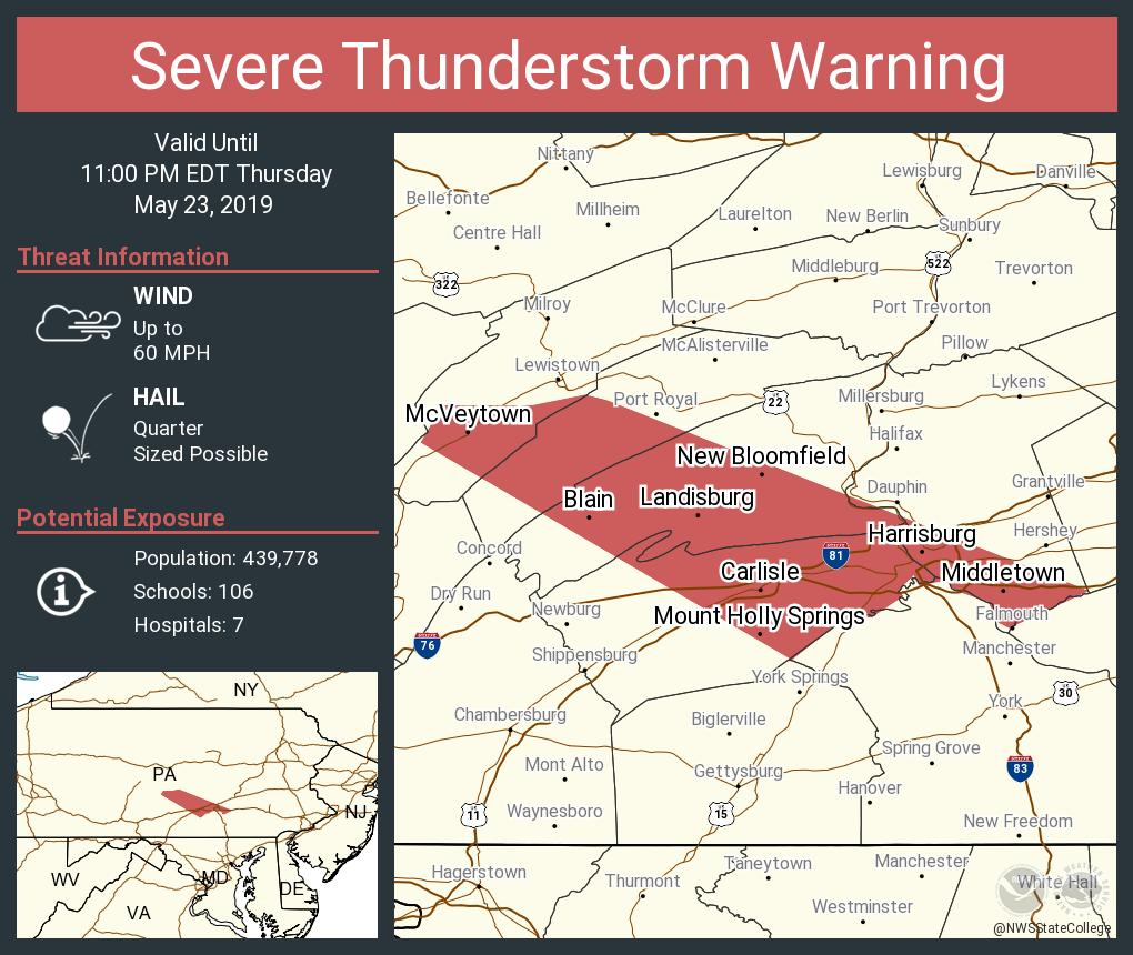 High winds, hail part of thunderstorm watch across central Pa.