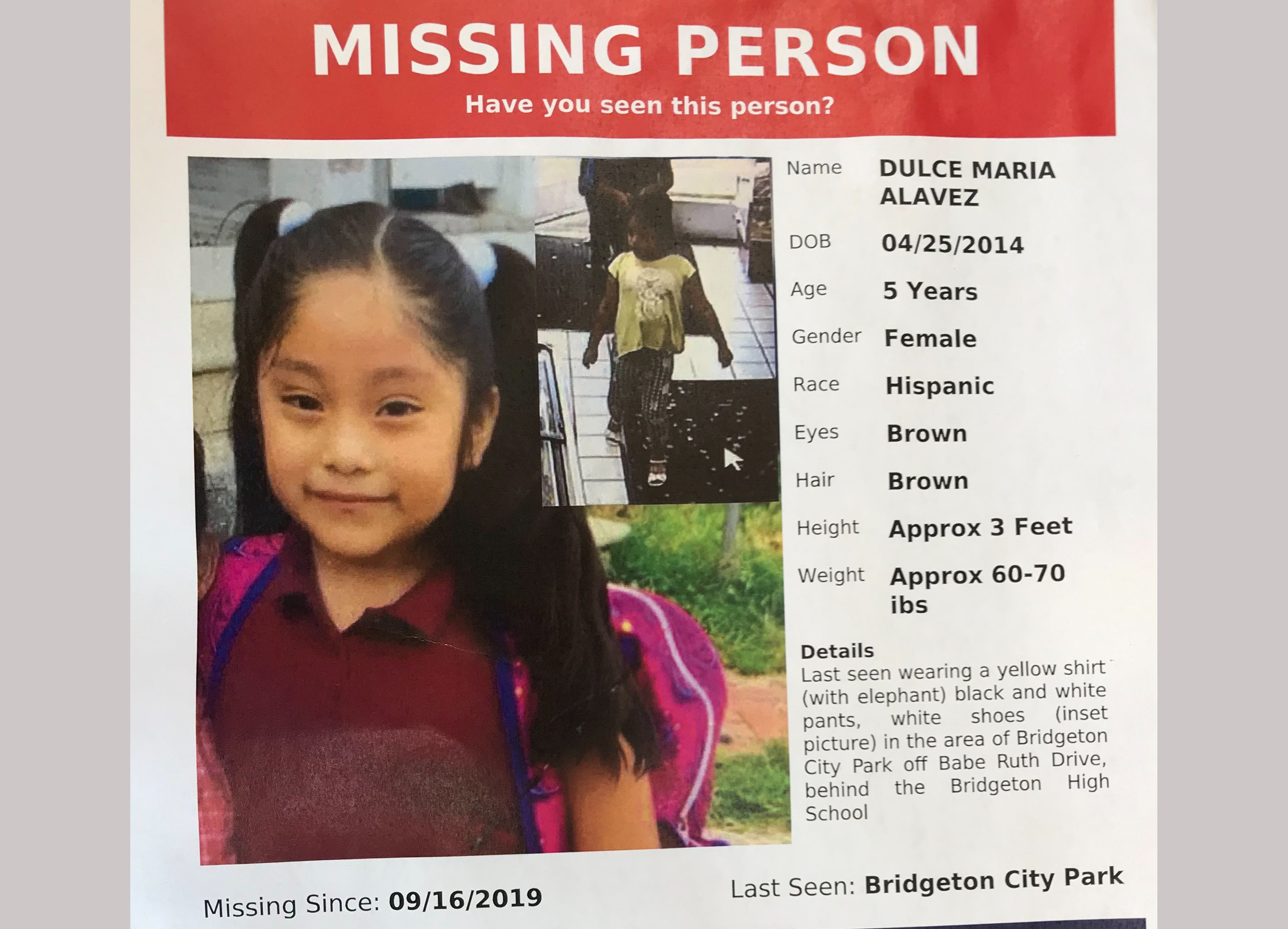 Close-knit community left in fear as mystery surrounds disappearance of 5-year-old Dulce Maria Alavez