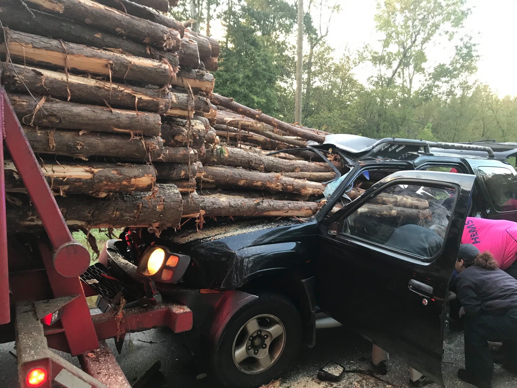 Georgia driver escapes with his life after logs impale his car