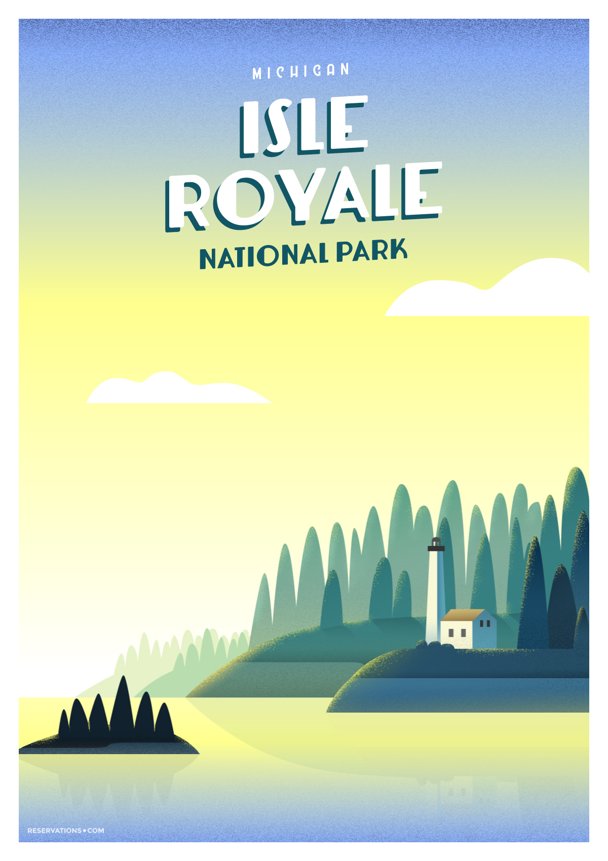 Vintage poster depicts Isle Royale, one of America's least visited national parks