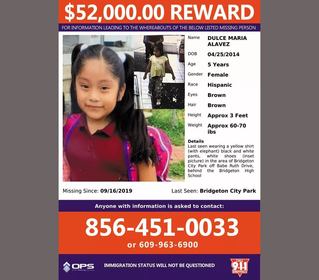Missing persons group from Virginia aiding family of 5-year-old Dulce Maria Alavez