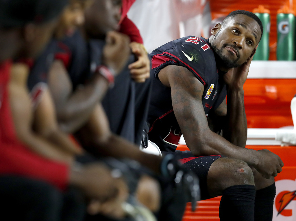 Arizona Cardinals cornerback Patrick Peterson (21) sits on the bench during the second half of an NFL football game against the Denver Broncos, Thursday, Oct. 18, 2018, in Glendale, Ariz. The Broncos won 45-10. (AP Photo/Ralph Freso) AP