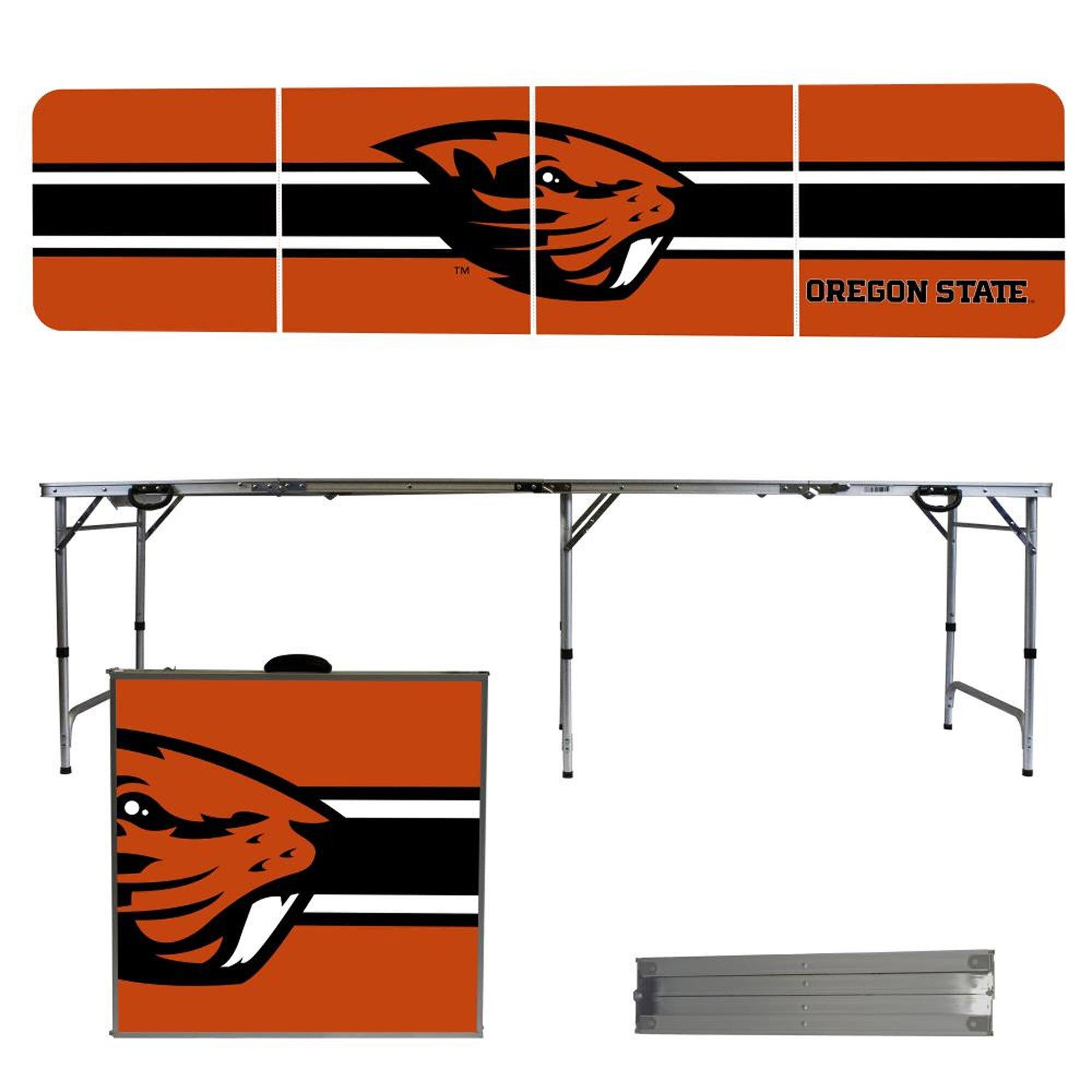 Oregon State Beavers Striped Design 8' Portable Folding Tailgate Table
