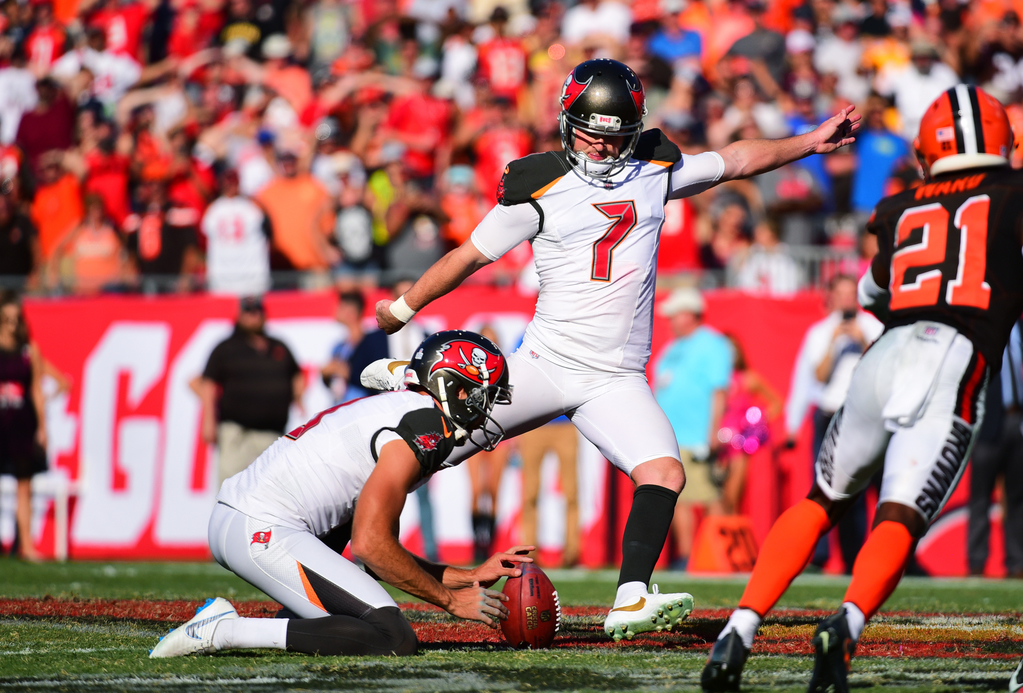 TAMPA, FL - OCTOBER 21: Chandler Catanzaro #7 of the Tampa Bay Buccaneers kicks the game-winning field goal in a 26-23 overtime win against the Cleveland Browns on October 21, 2018 at Raymond James Stadium in Tampa, Florida.(Photo by Julio Aguilar/Getty Images) Getty Images