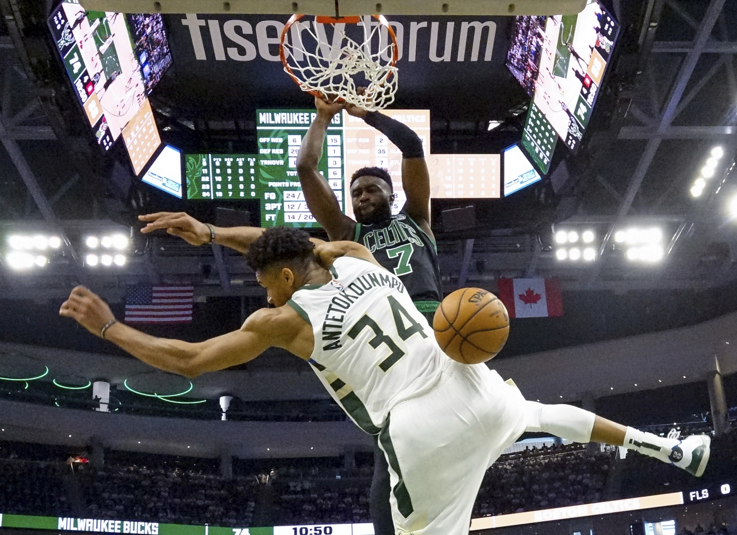 Boston Celtics Jaylen Brown Photo Of Dunk On Giannis