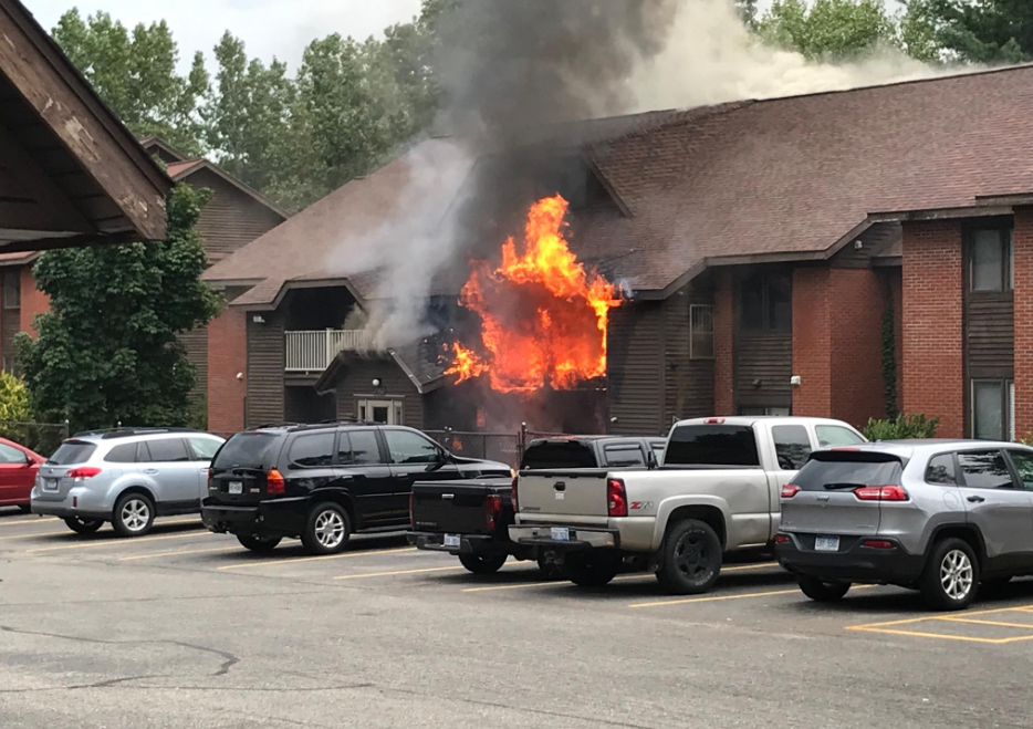 Firefighters put out flames at apartment complex