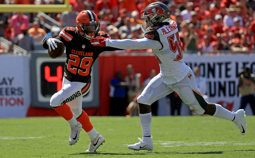 TAMPA, FL - OCTOBER 21: Duke Johnson #29 of the Cleveland Browns is defended by Kwon Alexander #58 of the Tampa Bay Buccaneers during a game at Raymond James Stadium on October 21, 2018 in Tampa, Florida. (Photo by Mike Ehrmann/Getty Images) Getty Images