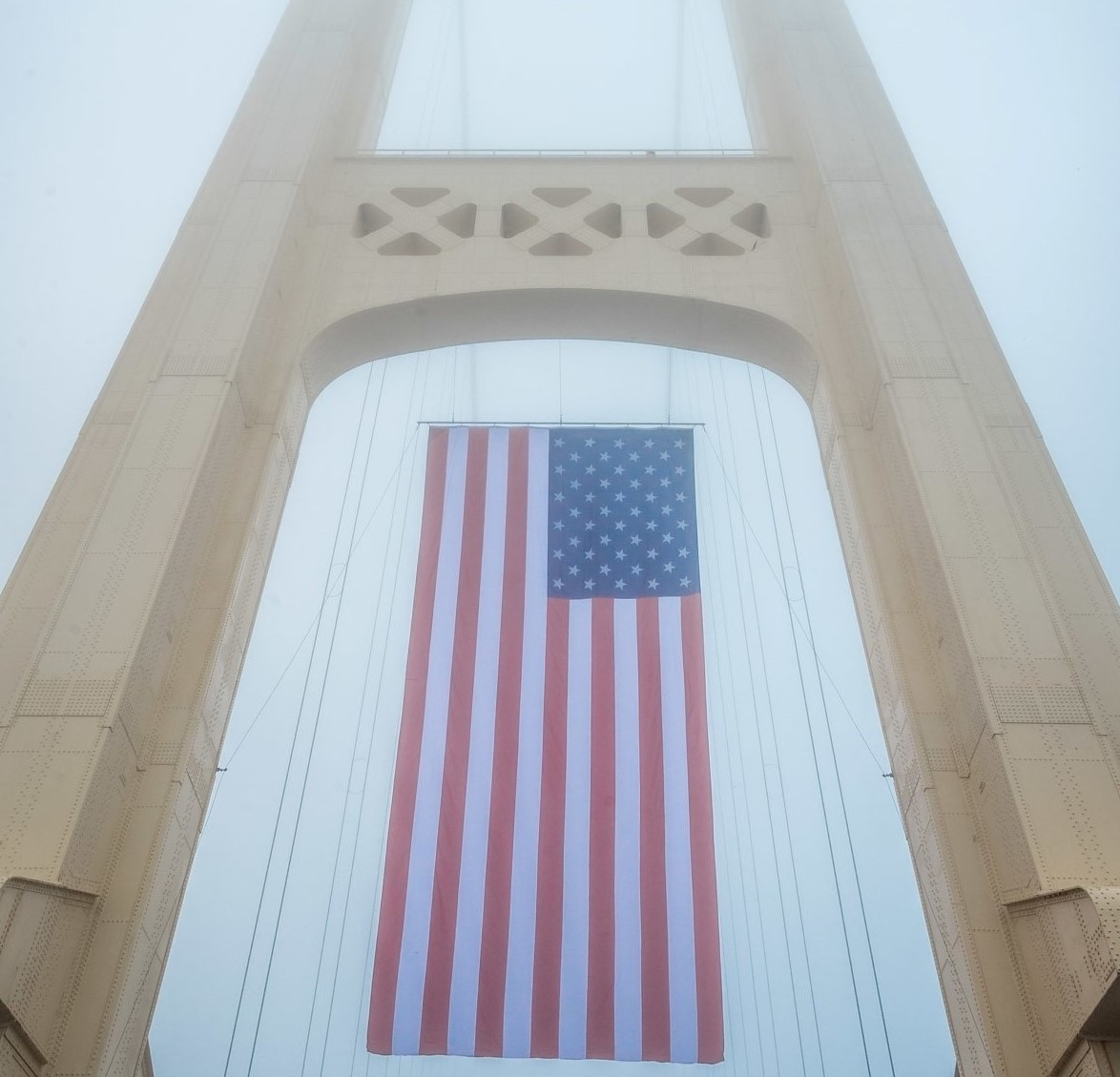 Giant American flag hangs from Mackinac Bridge on 9/11