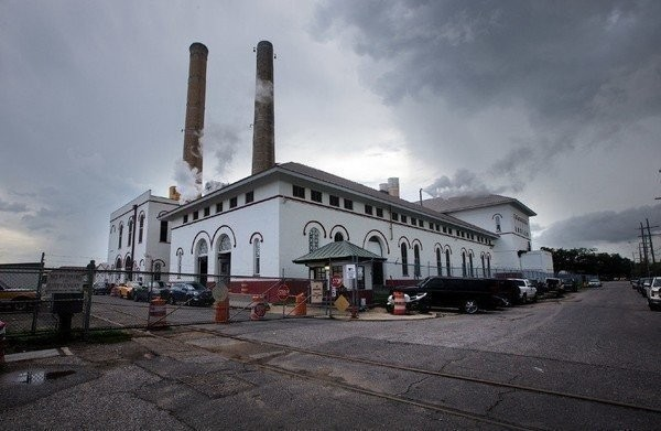 This photo shows a portion of the Sewerage & Water Board's water and power plant located on South Claiborne Avenue near the Jefferson Parish line.
