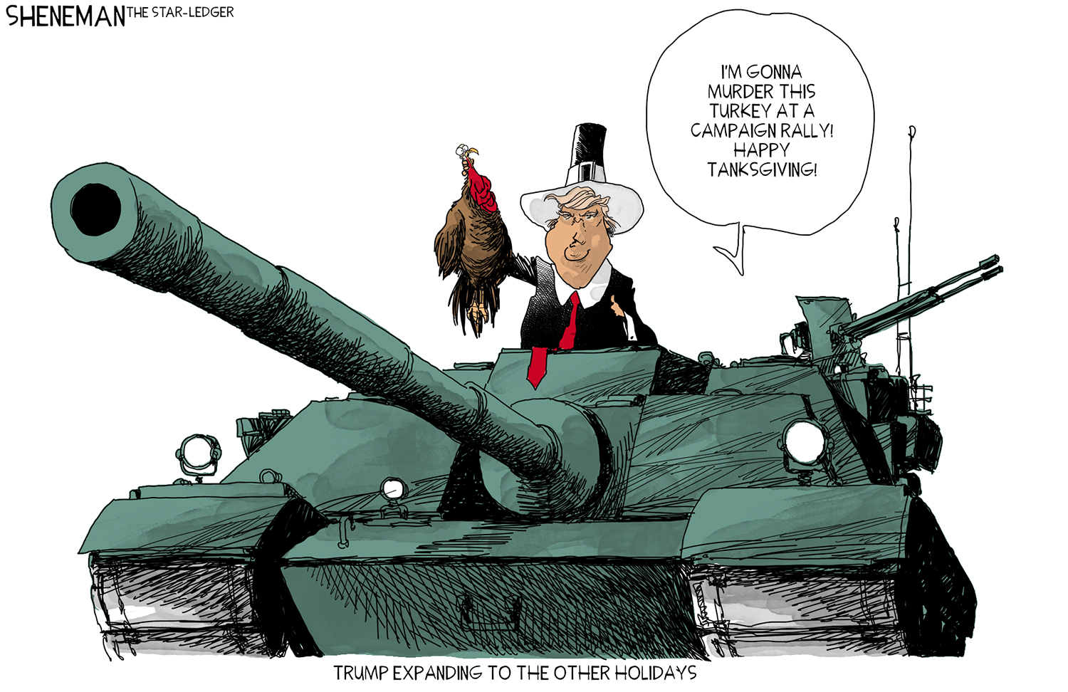 What are you tankful for? | Sheneman cartoon