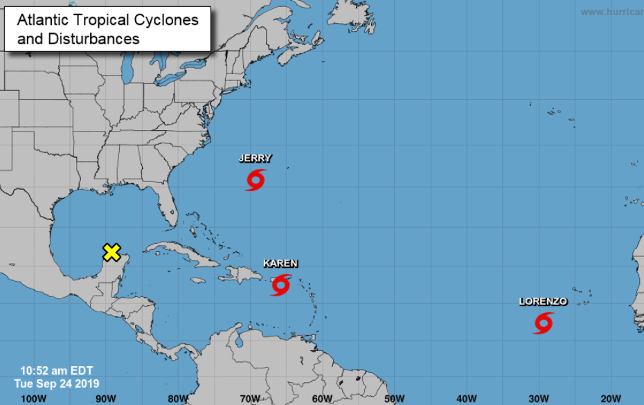 Latest track of tropical storms Jerry, Karen and Lorenzo - all swirling in the Atlantic hurricane basin - NJ.com