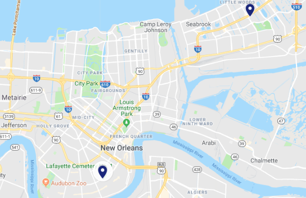 New Orleans police reported an armed robbery and an aggravated battery by cutting in its crime log from Thursday, Oct. 18, 2018 to Friday, Oct. 19, 2018. (Google Maps)