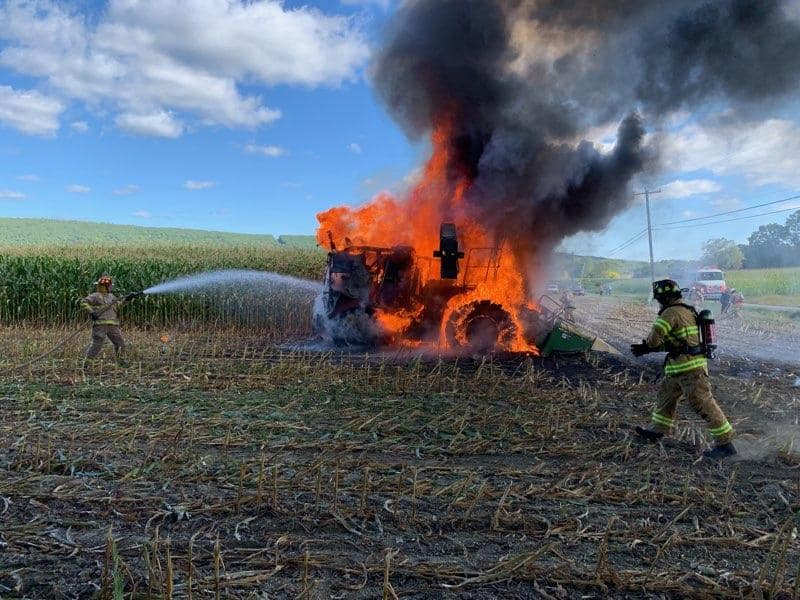 Deerfield firefighters extinguish farm equipment engulfed in flames