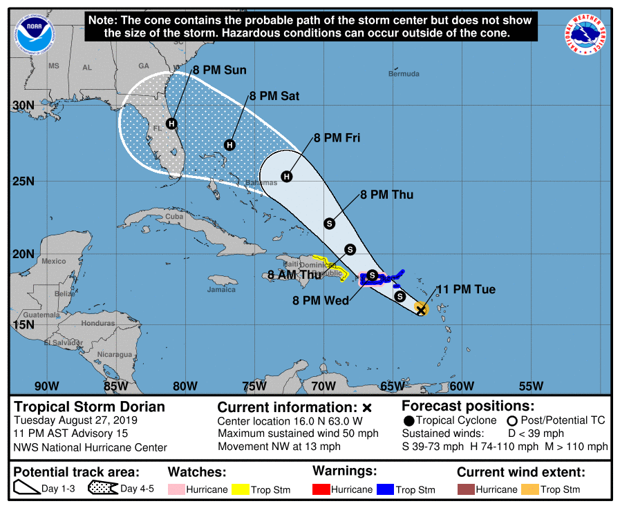 Tropical Storm Dorian 2019: Florida landfall looking more likely; Tropical Storm Erin forms
