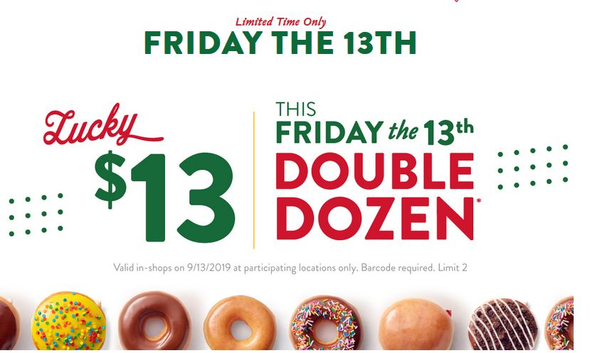 Krispy Kreme Friday 13th: Get lucky with 2 dozen doughnuts for only $13