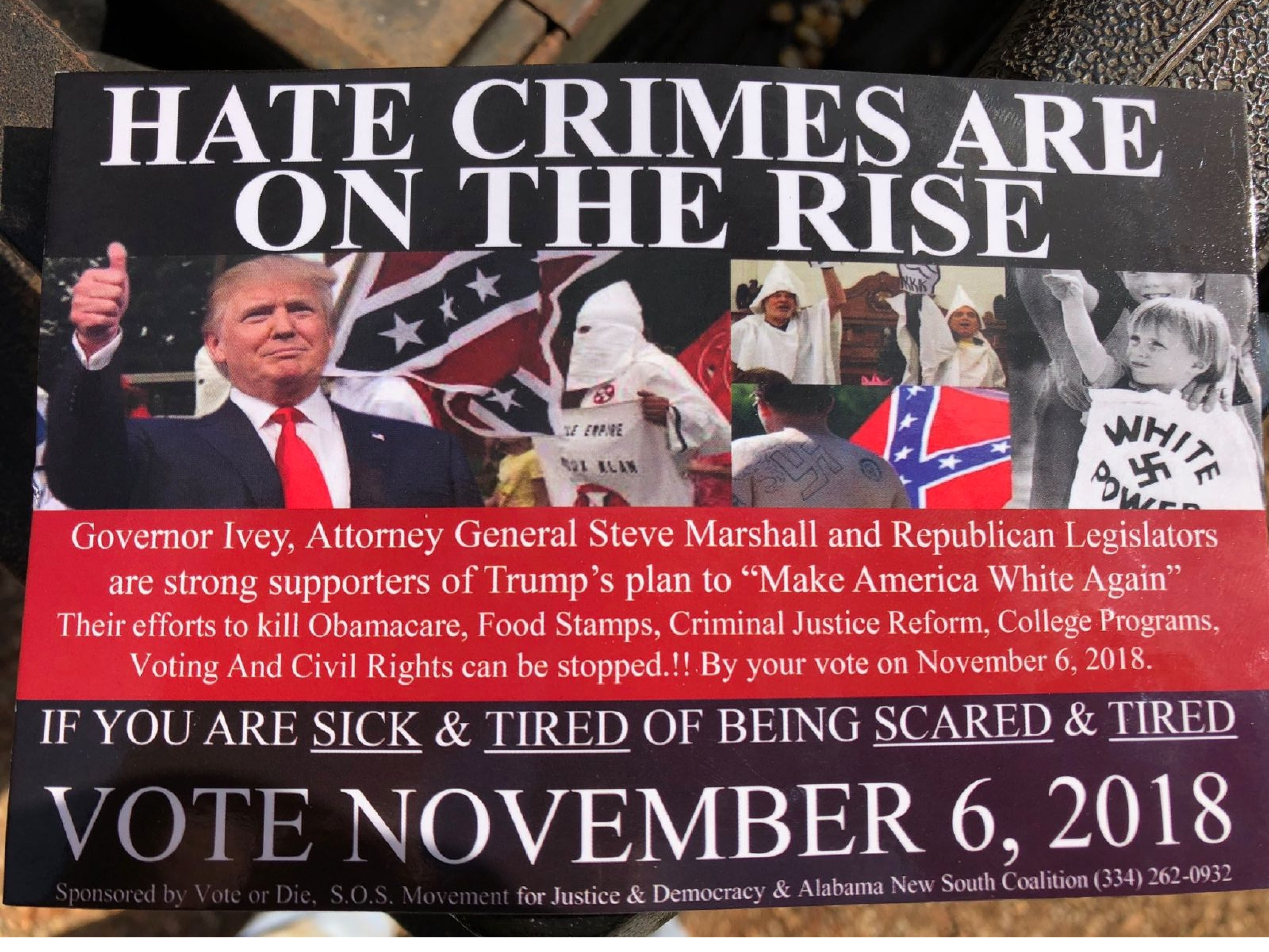 This flier featuring images of President Trump, the Ku Klux Klan and the Confederate flags has been injected into Alabama's election.