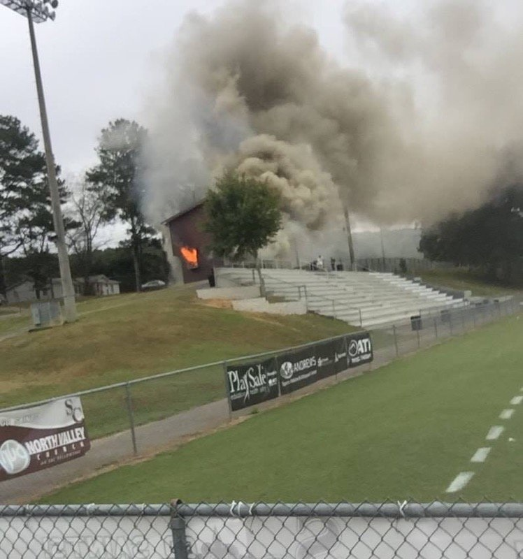 A fire at St. Clair stadium has moved Friday night's game between Munford and St. Clair County to Moody High School.
