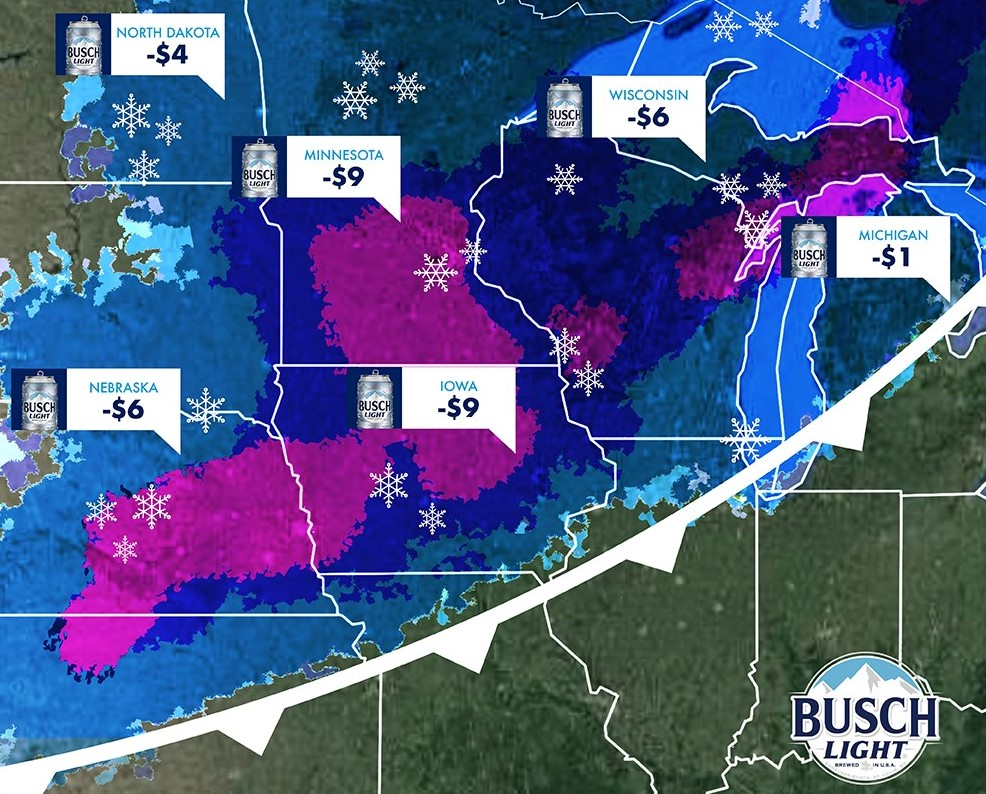 Busch offering $1 off beer for every inch of snow that falls in Grand Rapids