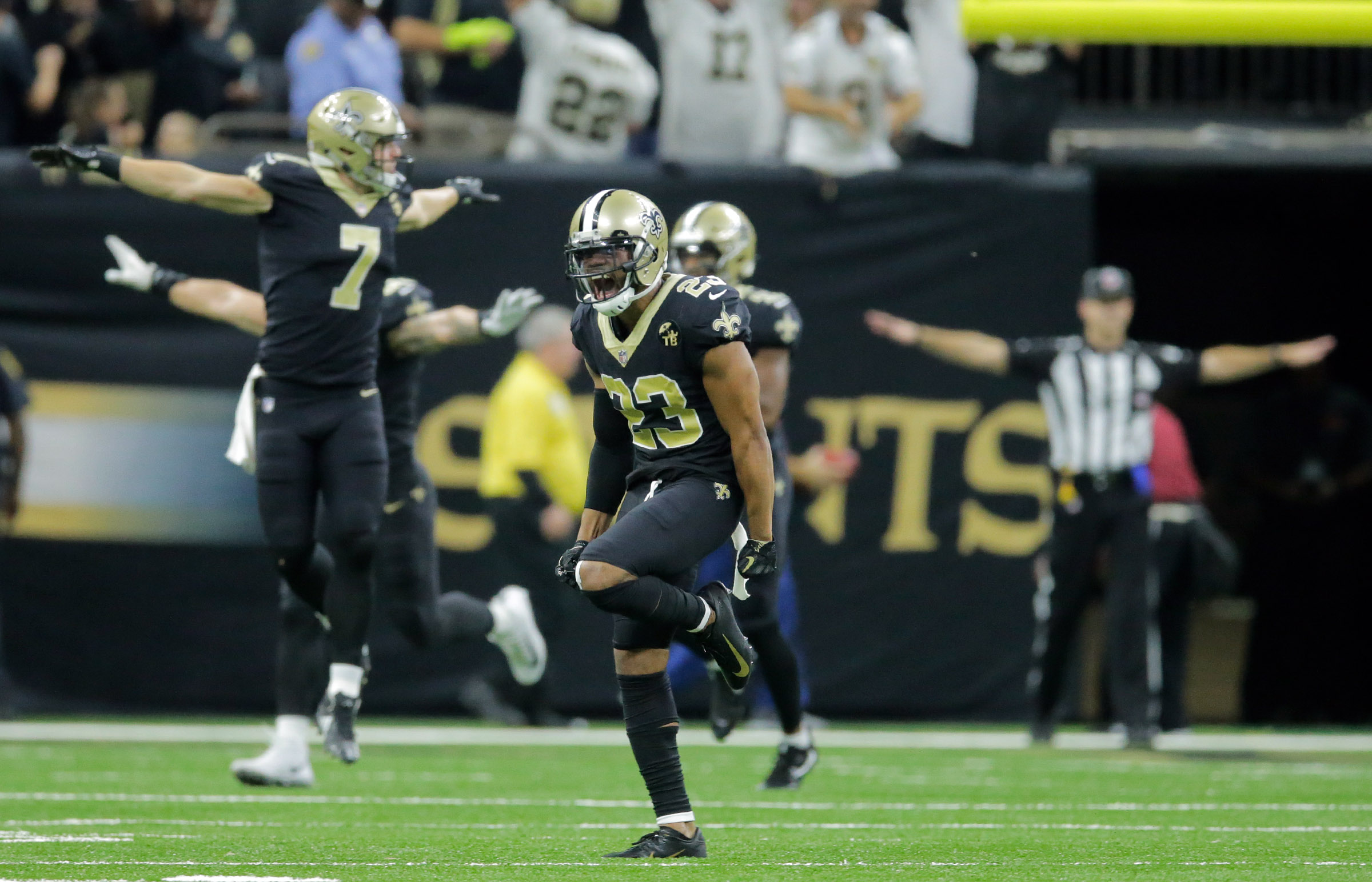 New Orleans Saints cornerback Marshon Lattimore (23) and other Saints react to Cleveland Browns kicker Zane Gonzalez (2) missing a game winning FG at the Mercedes-Benz Superdome in New Orleans, La. Sunday, Sept. 16, 2018. (Photo by David Grunfeld, NOLA.com | The Times-Picayune)