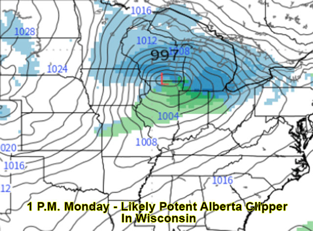 Surface forecast for 1 p.m. Monday
