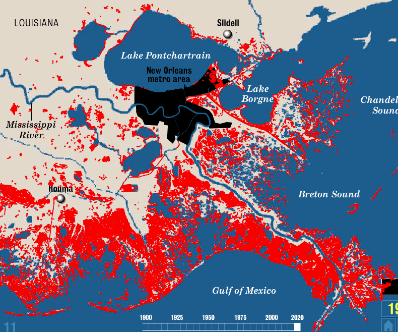 Red shows the land that has become open water in this part of Louisiana since the 1930s. Map from the Coastal Protection and Restoration Authority.