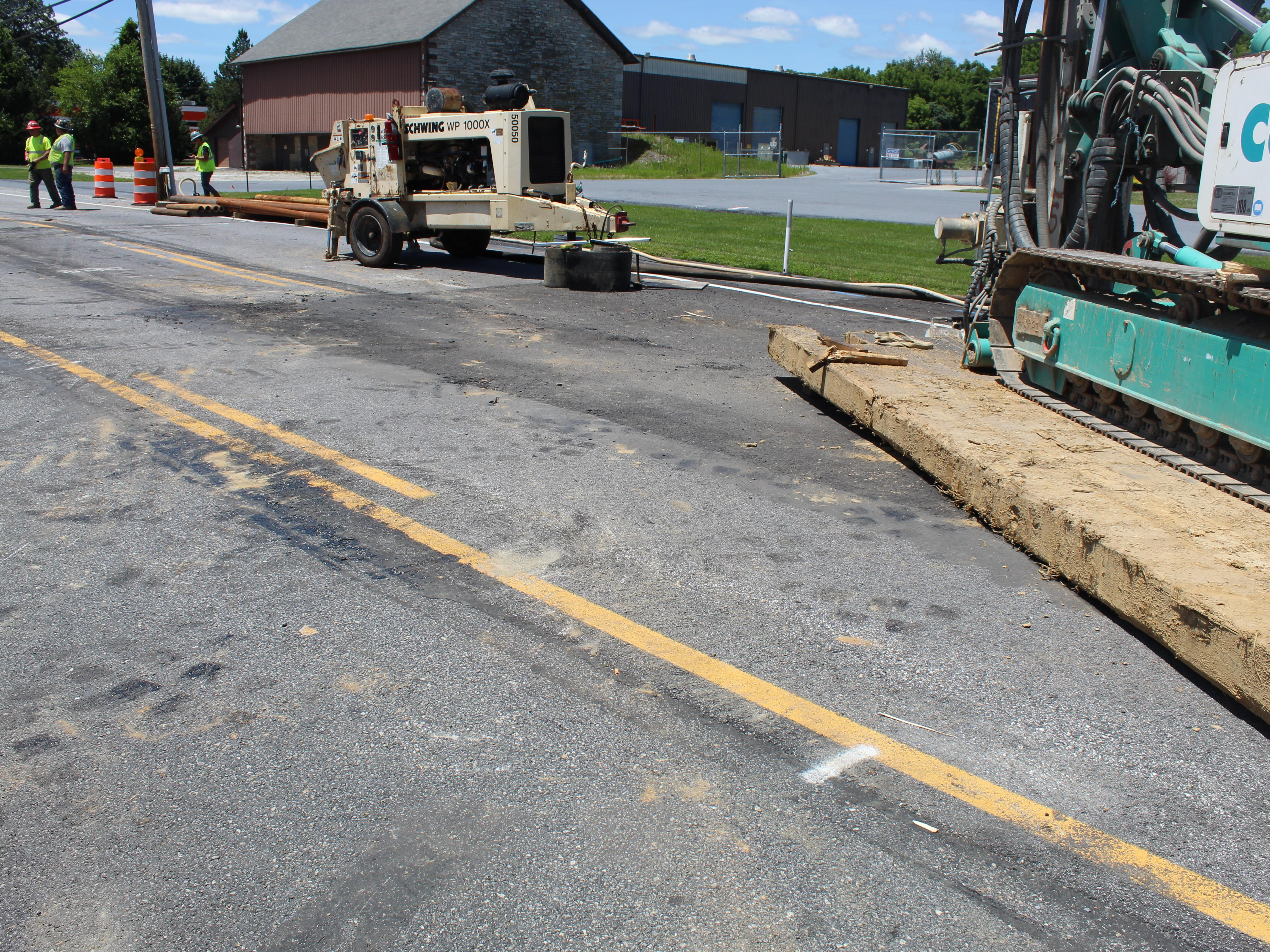 Crews work to fill sinkhole on Route 422 in Palmyra; unknown if road will reopen by July 4