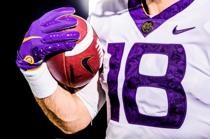 The jersey of LSU's alternate uniforms. The uniforms will be worn against Mississippi State.
