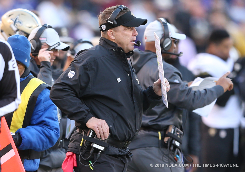 New Orleans Saints head coach Sean Payton during the game between the New Orleans Saints and Baltimore Ravens at M&T Bank Stadium on Sunday, October 21, 2018. (Photo by Michael DeMocker, NOLA.com | The Times-Picayune)