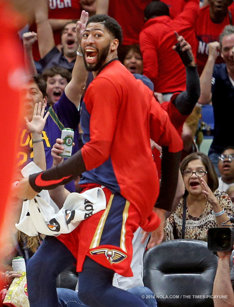 New Orleans Pelicans forward Anthony Davis (23) celebrates from the bench after another three-pointer during the home opener game between the Sacramento Kings and New Orleans Pelicans at the Smoothie King Center on Friday, October 19, 2018. (Photo by Michael DeMocker, NOLA.com | The Times-Picayune)